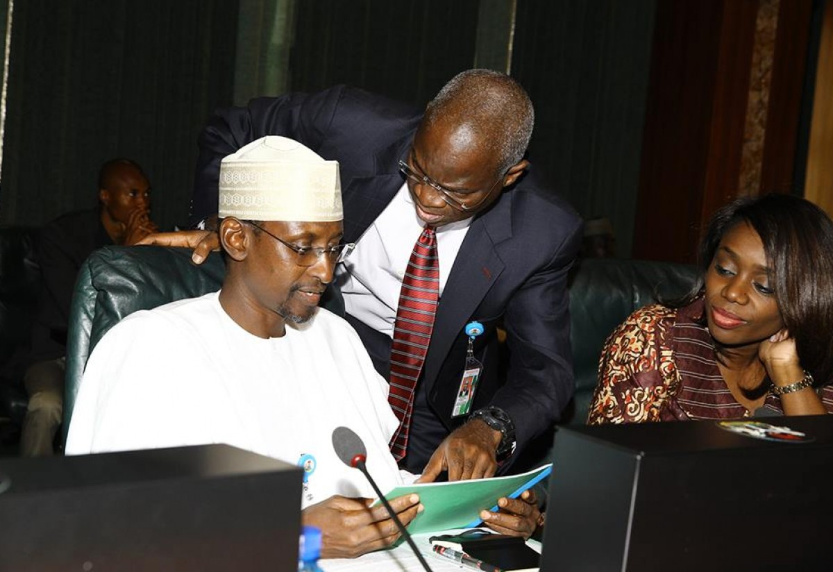 Minister of FCT, Muhammadu Bello, Minister of Power, Works and Housing, Babatunde Fashola, and the Minister of Finance, Kemi Adeosun during Federal Executive Council (FEC) meeting at the State House in Abuja on Wednesday, February 17, 2016.