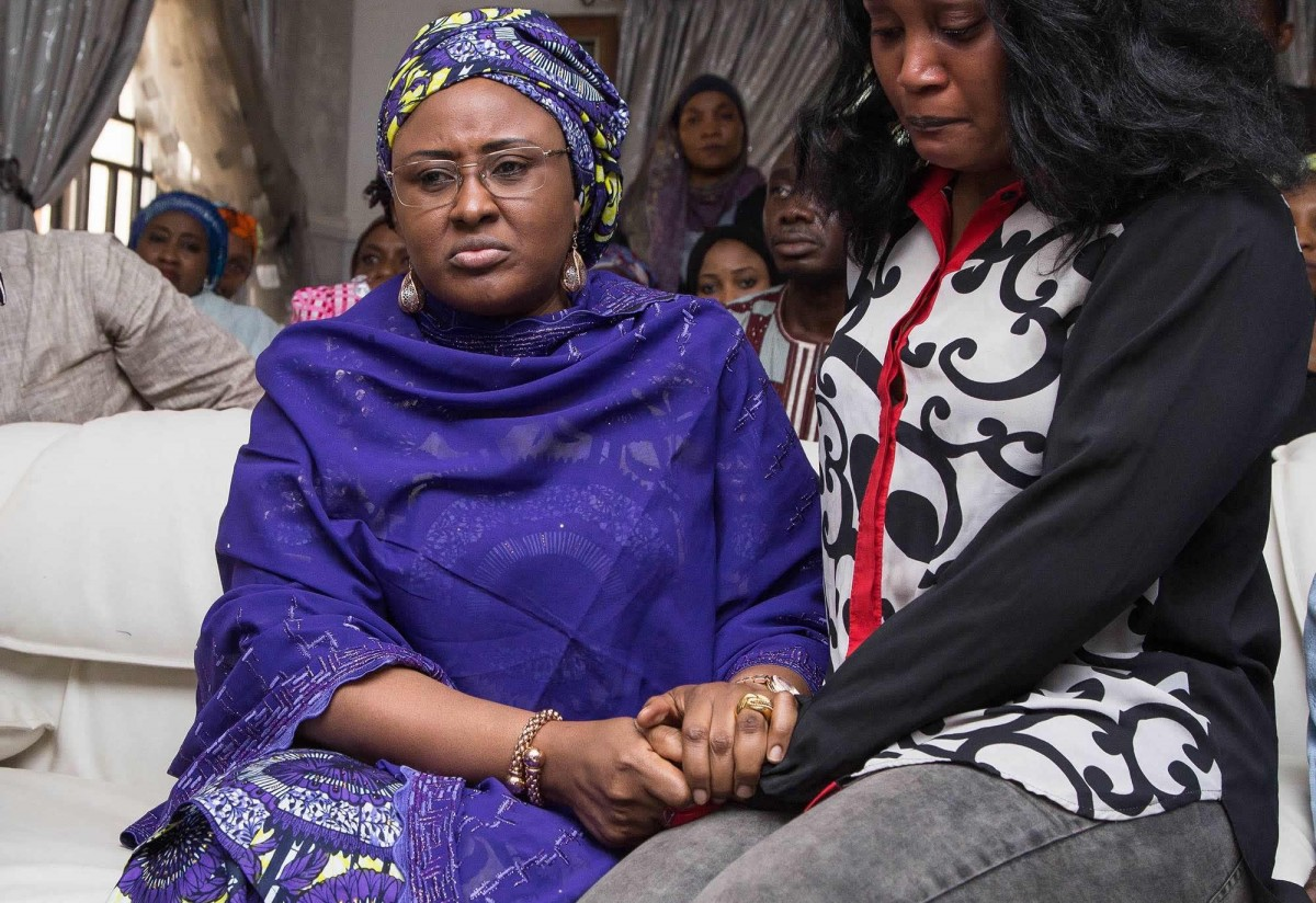 Wife of the President, Mrs Aisha Muhammadu Buhari condoling with Blessing Ocholi over the death of her father, Mr. James Ocholi, mother and brother in a ghastly motor accident along Kaduna-Abuja highway.