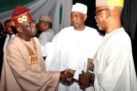 Oyegun, Tinubu meet at Buhari's book lunch