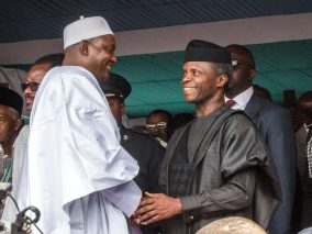 Acting President Yemi Osinbajo at the swearing-in ceremony of the new President of The Gambia, Mr. Adama Barrow at the Independence Stadium in Banjul.