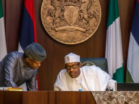 President Muhammadu Buhari and Vice President Yemi Osinbajo during the Federal Executive Council (FEC) meeting at the Presidential Villa in Abuja on Wednesday, March 22, 2017