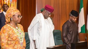 VP Osinbajo, Abba Kyari, Winifred Oyo-Ita at FEC meeting, State House, Abuja, on May3, 2017