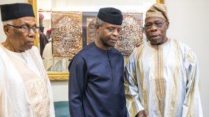 "Acting President Yemi Osinbajo, former President Olusegun Obansajo, and former Federal Permanent Secretary, Alhaji Ahmed Joda, during the ""Biafra, 50 years After"" event held at the Shehu Musa Yar'adua Centre, Abuja"