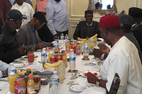 Oyegun, APC governors meet Buhari in London