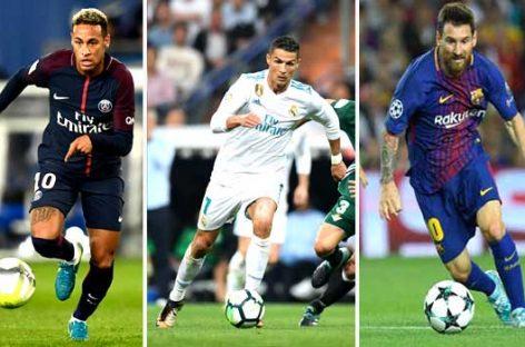 Ronaldo, Messi, Neymar shortlisted for FIFA best player