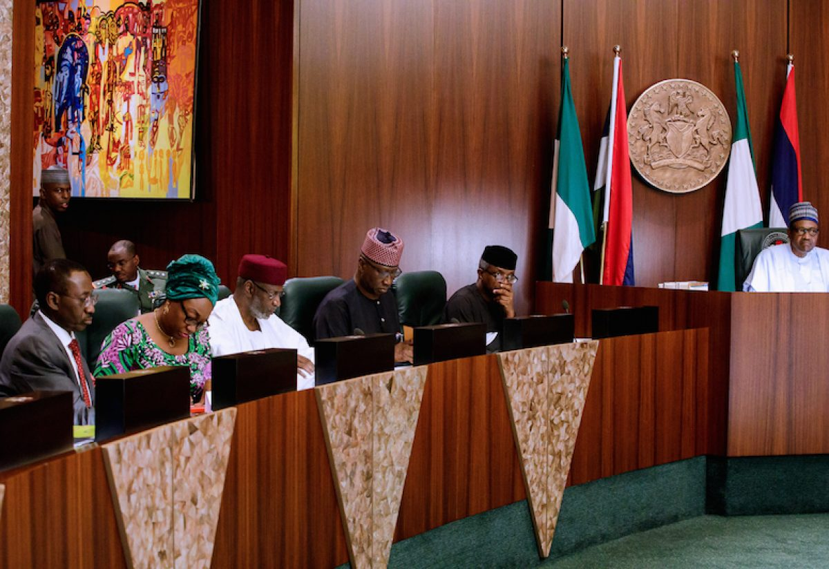 PRESIDENT MUHAMMADU BUHARI PRESIDES OVER FEDERAL EXECUTIVE COUNCIL (FEC) MEETING AT THE COUNCIL CHAMBERS OF PRESIDENTIAL VILLA, ABUJA. PHOTO: STATE HOUSE
