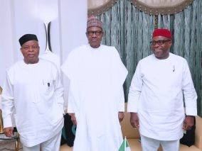 President Muhammadu Buhari receives former Senate President Senator Ken Nnamani and A billionaire Nigerian Businessman and the Chairman/CEO of Chrome Group and Environmental Remediation Holding Corp (ERHC Energy Inc.), Sir Emeka Offor during an audience at the State House. PHOTO: Sate House