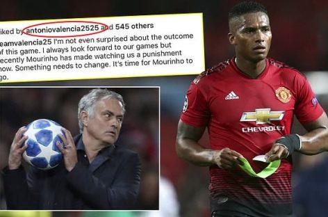 United's captain, Valencia, likes post calling for Mourinho's sack