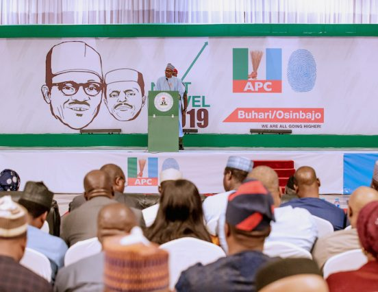 2019: Don't set Nigeria ablaze, Buhari tells politicians as he unveils campaign in Abuja