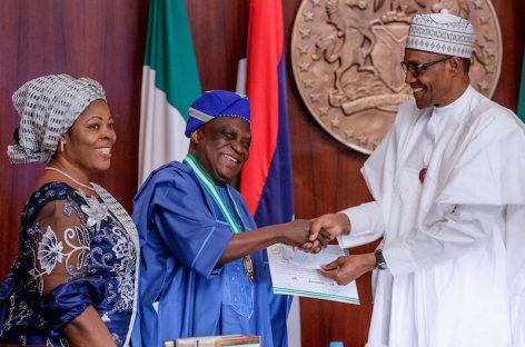 Buhari Confers National Merit Award on renowned playwright, Oluyemi Obafemi