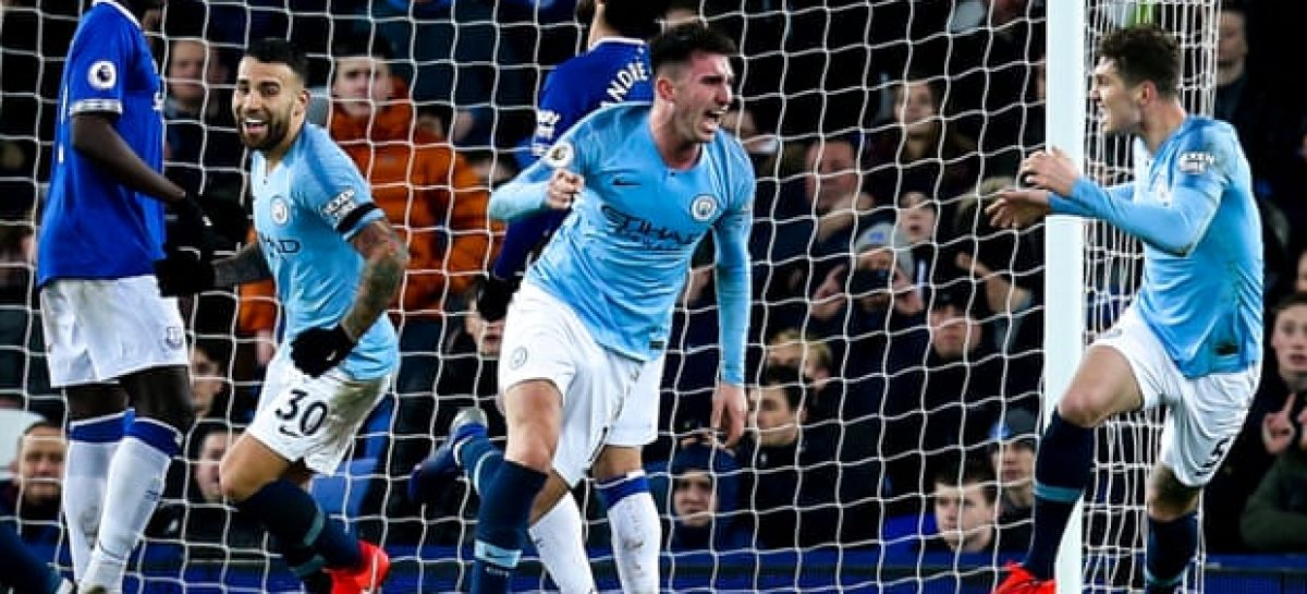 Aymeric Laporte and Gabriel Jesus put Manchester City back on top at Everton
