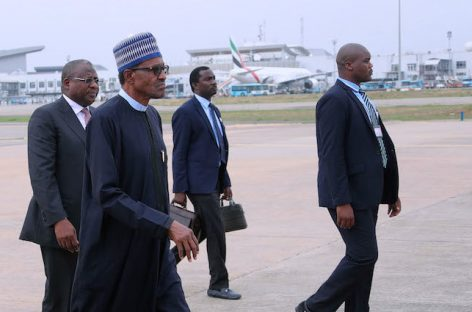 Buhari arrives Abuja, says he'll wait for INEC's official results