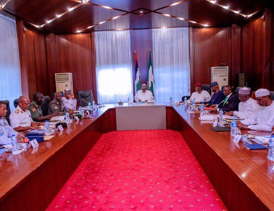 Buhari meets security chiefs at Aso Villa
