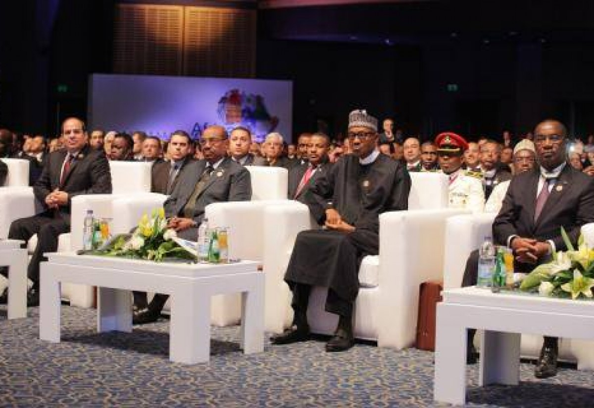 President Muhammadu Buhari at the opening of Business for Africa, Egypt and the World in Sharm El-Sheikh, Egypt on Saturday. February 20, 2016.