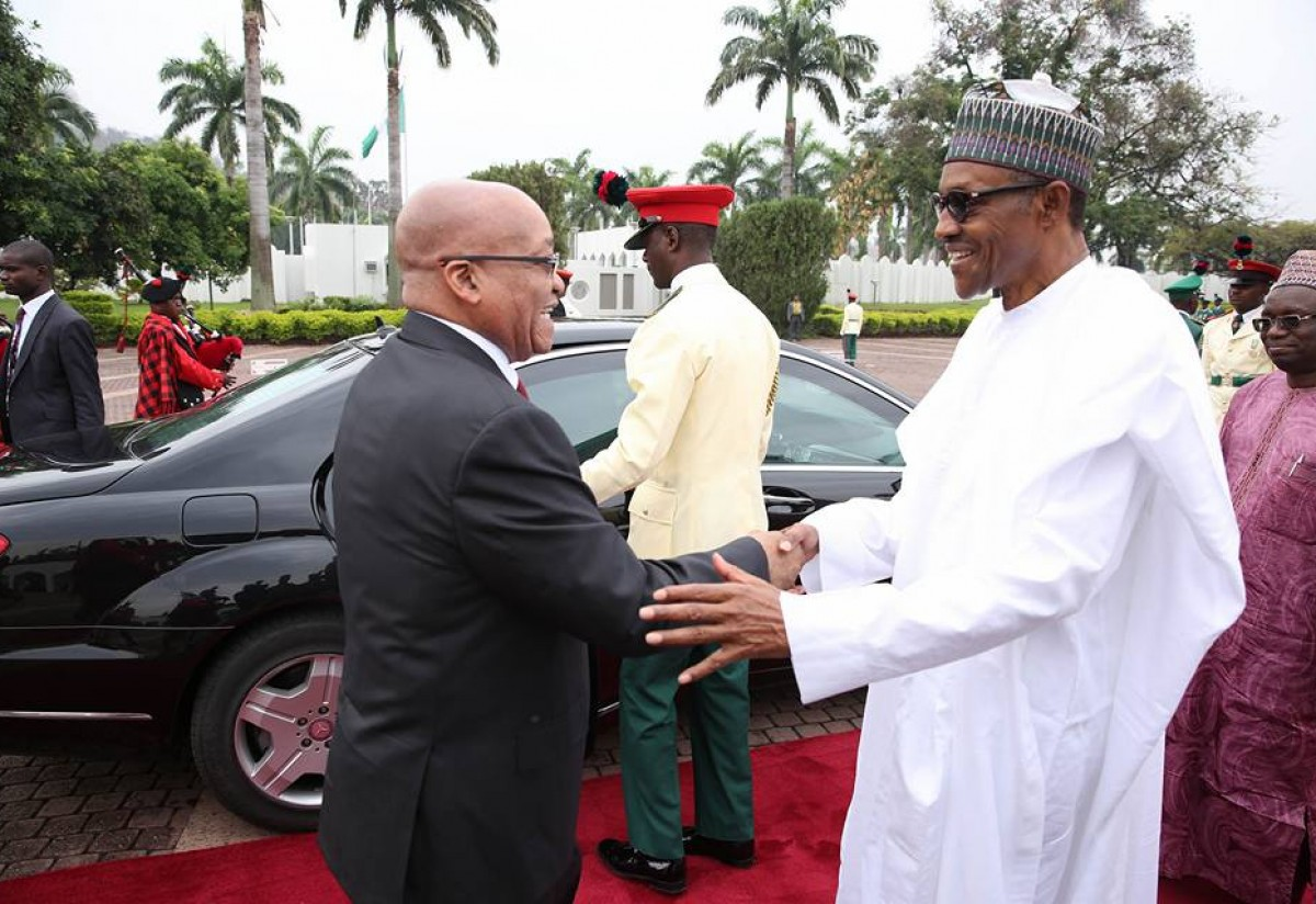 President Muhammadu Buhari Receives South African President Mr Jacob Zuma At The State House In Abuja On Tuesday, March 8, 2016.