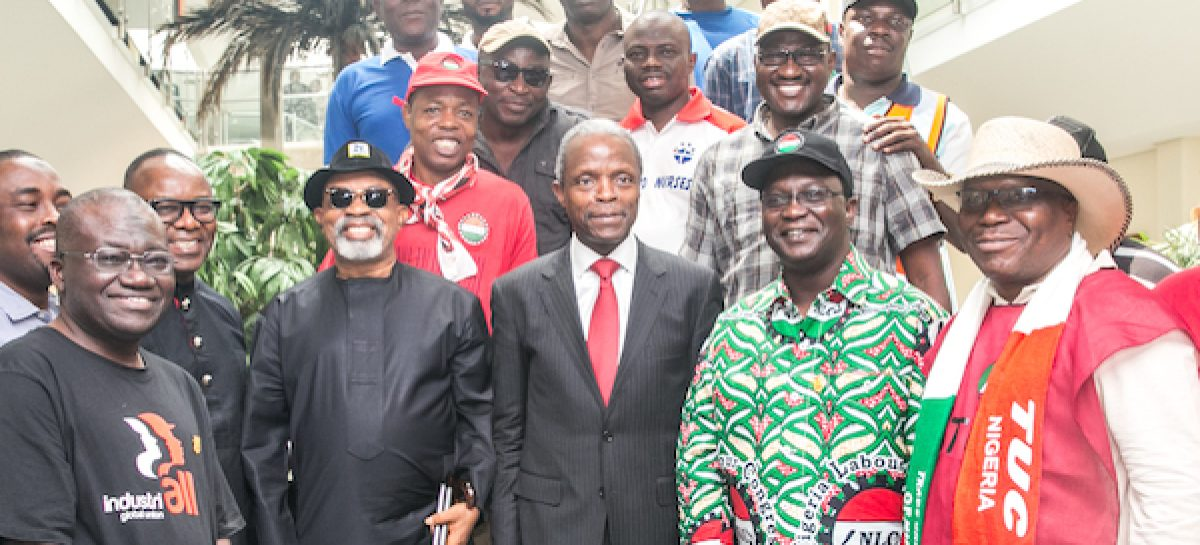 Osinbajo receives 18-point agenda from NLC, TUC