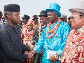 Acting President Yemi Osinbajo was received by the chiefs and elders of Rivers State on his arrival at the PortHarcourt airport to continue federal government's Niger Delta dialogue on February, 2017
