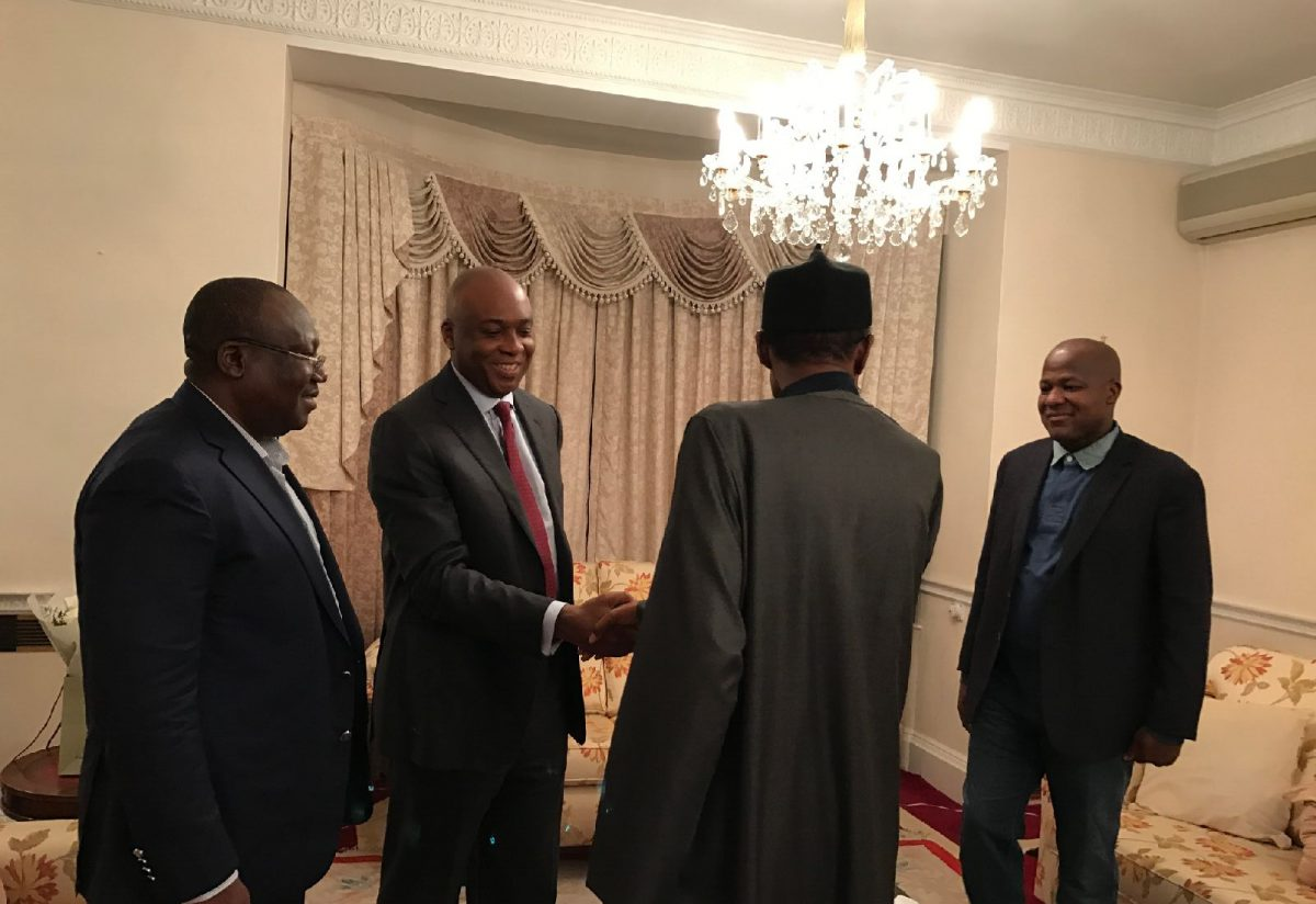 President Muhammadu Buhari receives the Senate President, Bukola Saraki; the Speaker, House Of Representatives, Yakubu Dogara and the Senate Leader, Ahmed Lawan, during their visit to the President in London, Wednesday.