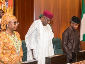 VP Osinbajo, Abba Kyari, Winifred Oyo-Ita at FEC meeting, State House, Abuja, on May3, 2017