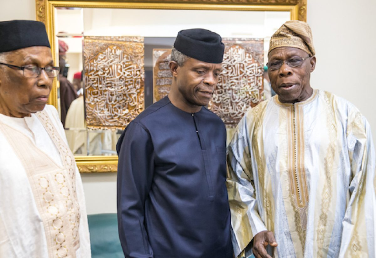 "Acting President Yemi Osinbajo, former President Olusegun Obansajo, and former Federal Permanent Secretary, Alhaji Ahmed Joda, during the ""Biafra, 50 years After"" event held at the Shehu Musa Yar'adua Centre, Abuja"