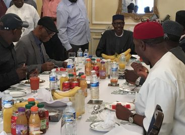 Oyegun, APC governors meet Buhari in London