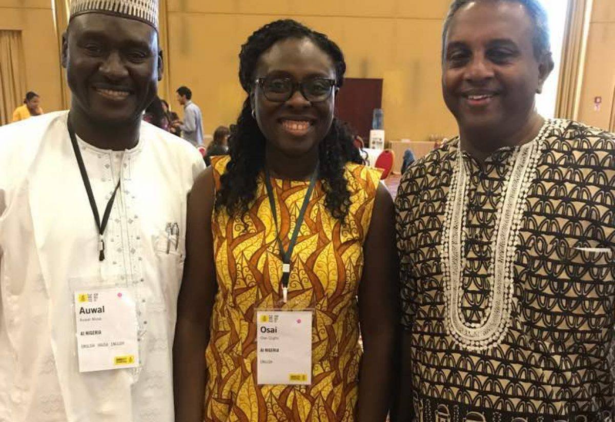 Secretary General of Amnesty International, Salil Shetty, AI Director in Nigeria, Osai Ojigho and Auwal Musa Rafsanjani at the organisation's meeting in Rome, Italy