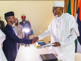 Photo News: VP Osinbajo submits Presidential Investigation Panel Report on the Allegations against suspended SGF, Babachir Lawal and DG NIA, Ayodele Oke to the President Buhari