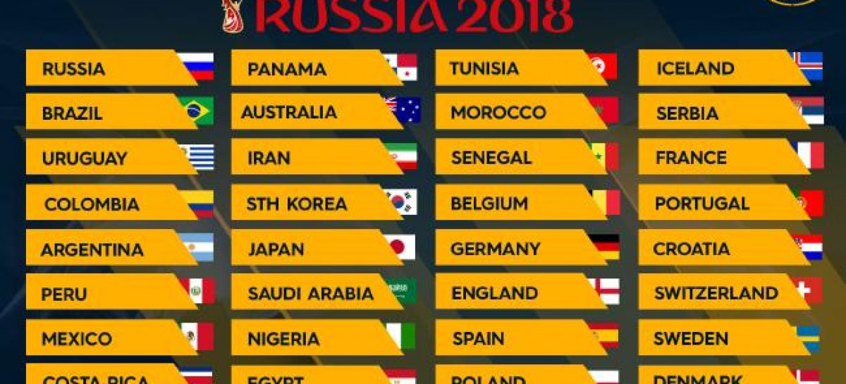 32 teams to play in Russia 2018 World Cup