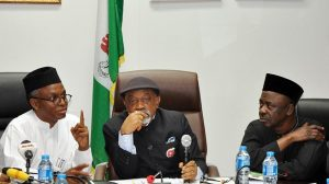Minister of Labour and Employment, Senator Chris Ngige, Governor Nasiru El-Rufai of Kaduna state, Minister of State Labour and Employment, Professor Stephen Ocheni and the representative of Nigeria Labour Congress (NLC), Benson Upah, during the conciliatory meeting between Kaduna State Government and teachers in the state under the umbrella of Nigeria Union of Teachers (NUT) on Tuesday in Abuja.