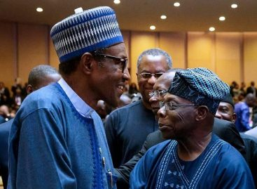 Obasanjo rushes to greet Buhari at AU summit