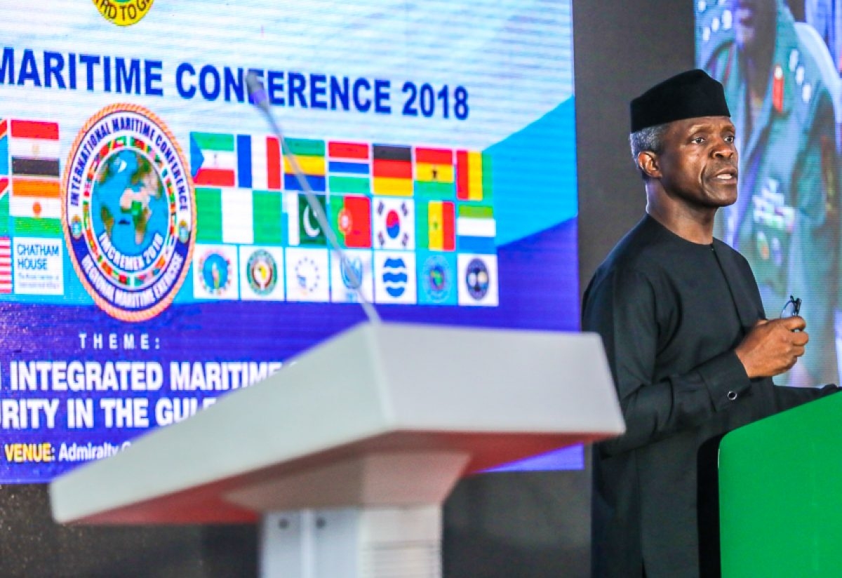 Vice President Yemi Osinbajo declared open the Nigerian Navy International Maritime Conference and Exercise. Theme: Enhancing an integrated Maritime Strategy for Security in the Gulf of Guinea at Admiralty Conference Centre, Naval Dockyard Limited, Lagos. May 31, 2018. Photos: State House
