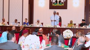 President Muhammadu Buhari breaks Ramadan Fast with members of Diplomatic Community at the State House in Abuja on Tuesday, June 12, 2018. PHOTO: State House